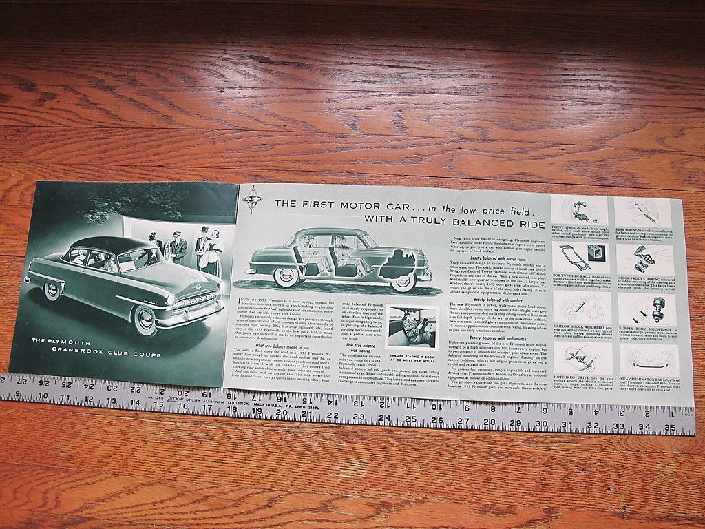 1953 Plymouth Cranbrook Cambridge Dealers Brochure Literature Advertising Poster | eBay