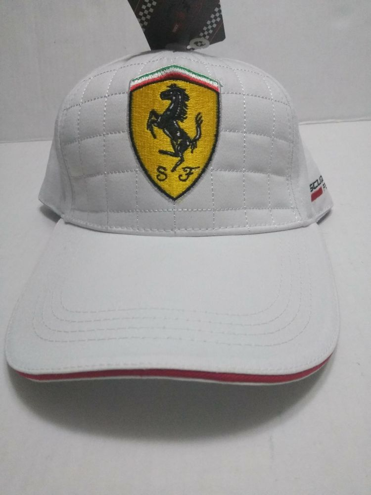 White Ferrari Racing Hat - Luxury Designer Bent Bill Strapback Cap - New w  Tags   26512ab43796