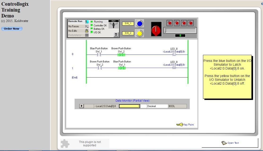 Free online rslogix5000 simulator see httpkoldwater dhtmlactivationinplace rs 5k is a pac process automation controller use to control machines transportation elevators water power etc ladder logic ccuart