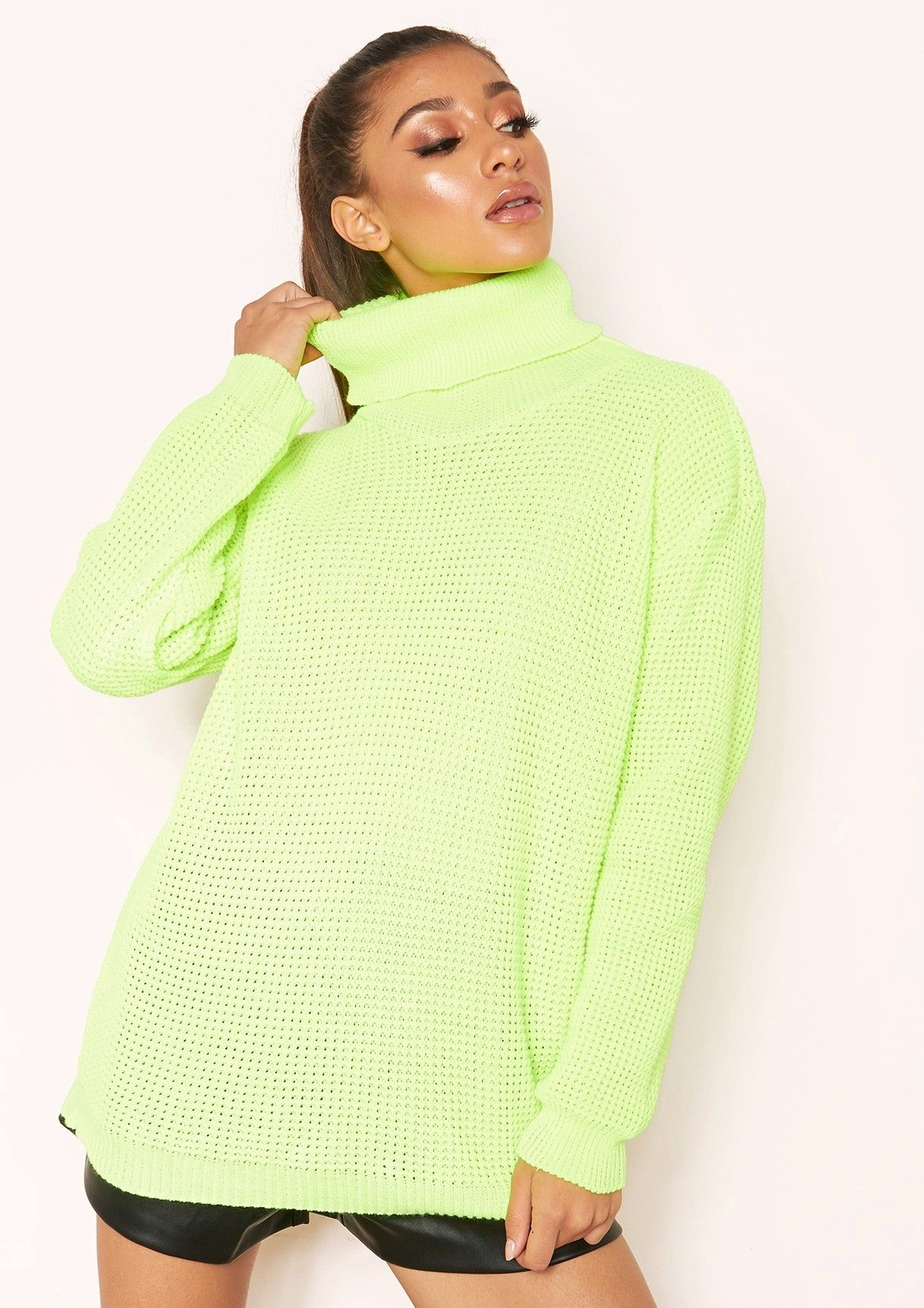 Missyempire - Harper Neon Yellow Knit Roll Neck Jumper 203372034