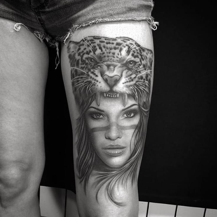 149d2c32a A more popular one: girl/leopard by Ervand Akopov. | Tattoos | Girl ...
