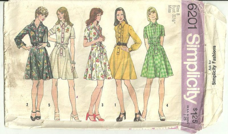 Simplicity 6201 Sewing Pattern Misses Short Dress Above Knee Size 8 ...