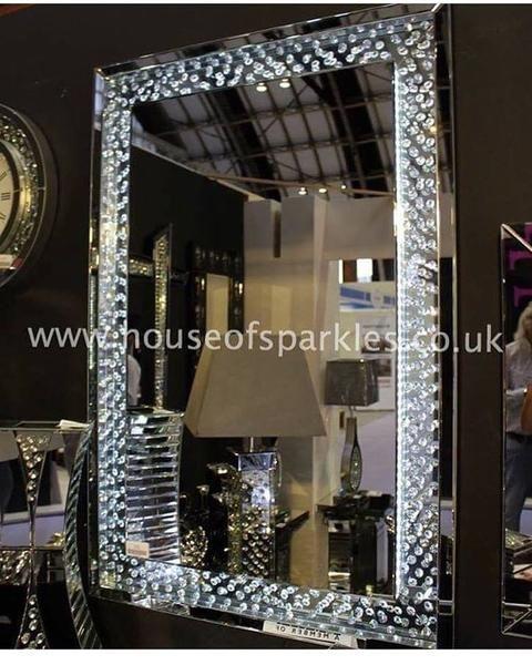 Glam mirror sparkles decor led crystal girlfriends bathroom ideas pinterest crystals for Silver sparkle bathroom mirror