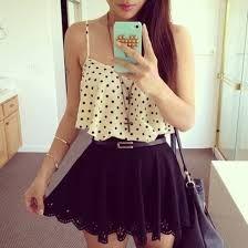 tank top skirt black polka dots Belt blouse top lace black dots crop tops cute bag