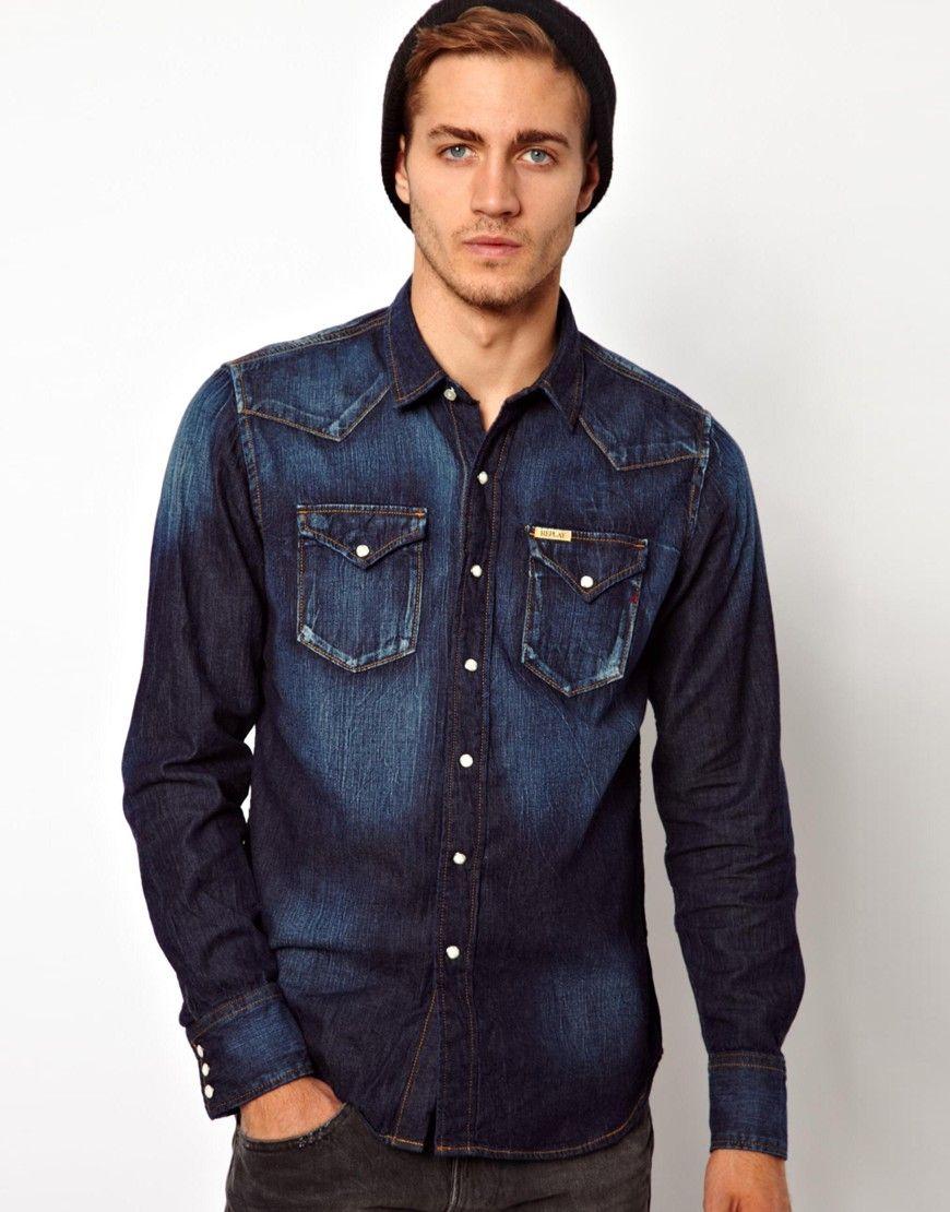 cdn.lookastic.com navy-denim-shirt replay-denim-shirt-mid-blue ...