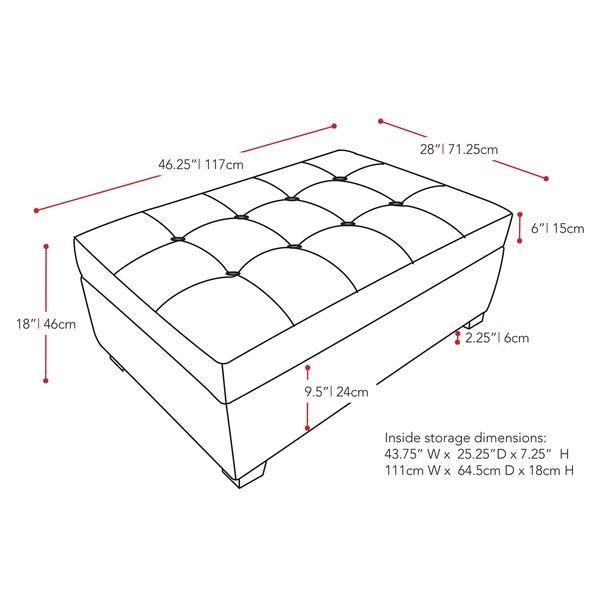 CorLiving Antonio Upholstered Storage Ottoman | maderas chavo ...