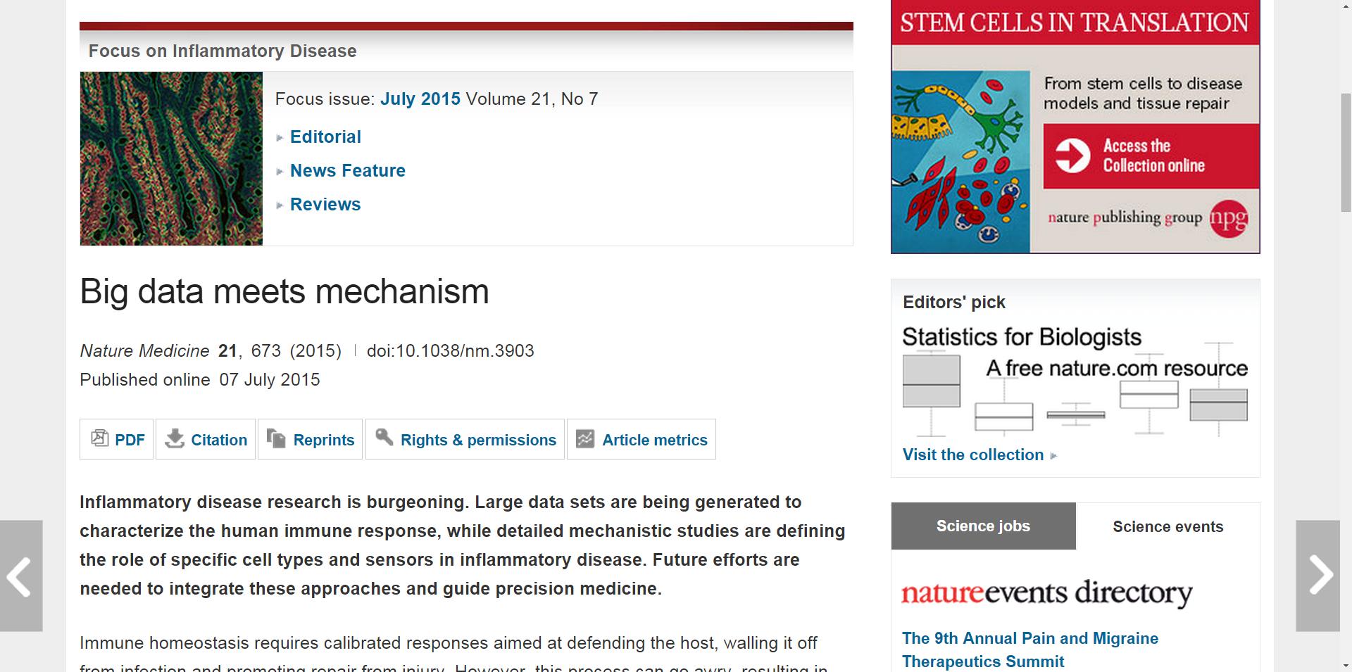 Big data meets mechanism : Nature Medicine : Nature Publishing Group