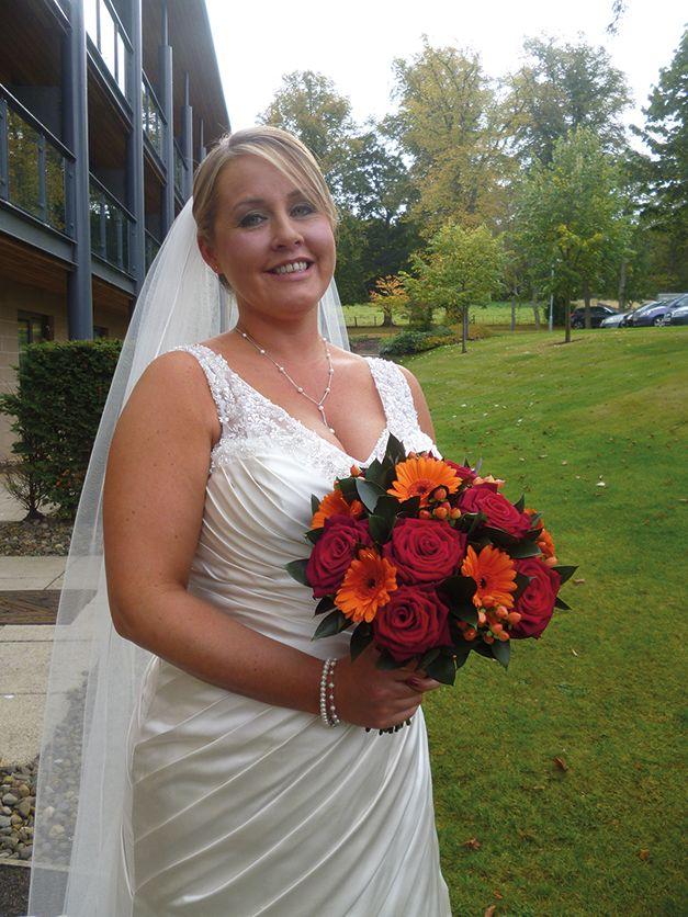 Gorgeous Bride with her Autumnal Bouquet.  Val Hamilton Flowers.