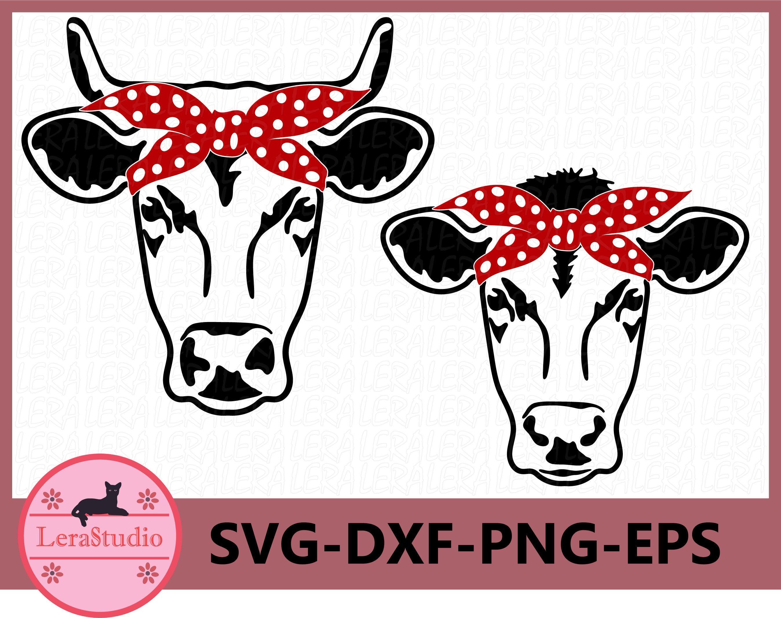 Cow with Bandana svg, Cow SVG, Cow face SVG, Farm svg, Cow