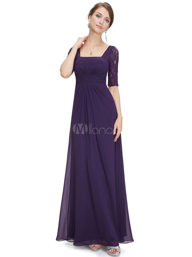 43df4d7b847 Dark Navy Mother s Dress Chiffon Lace Half Sleeve Formal Evening Dress  Square Neck Backless Floor Length Wedding Guest Dresses  Lace