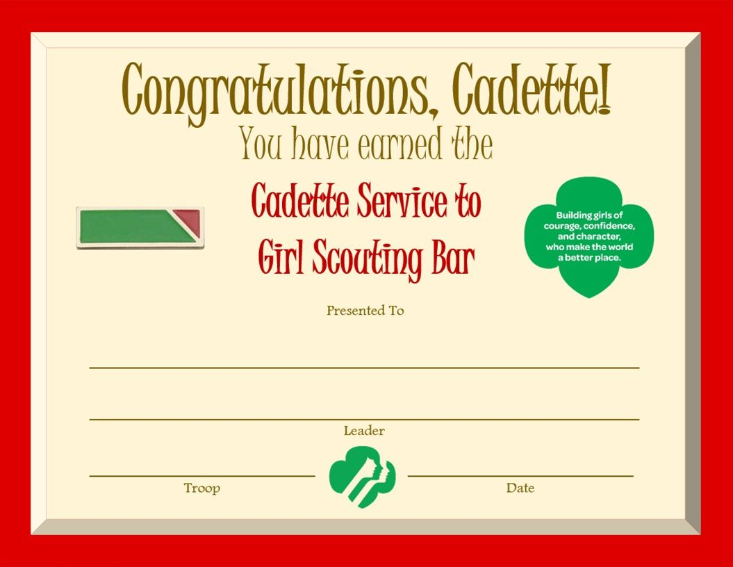 Cadette Service to Girl Scouting Bar Award Certificate Girl Scout Swap, Girl  Scout Leader,