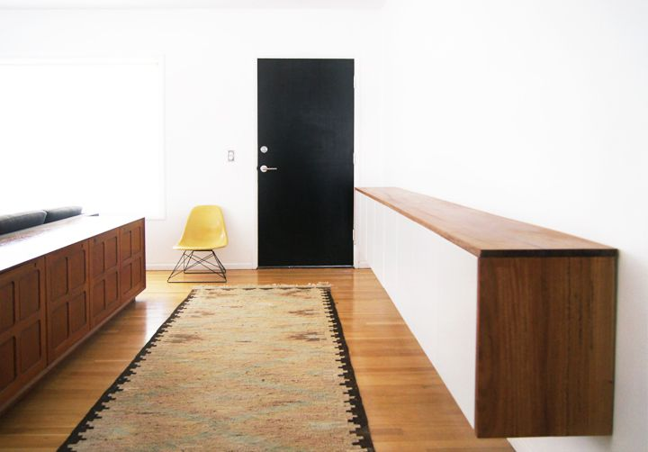 Idea for entryway leading into kitchen--floating credenza made from Ikea cabinets and hardwood top.  Good storage/mixer stand etc.