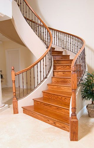 Best Red Oak Curved With Metal Balusters Metal Balusters Red 400 x 300