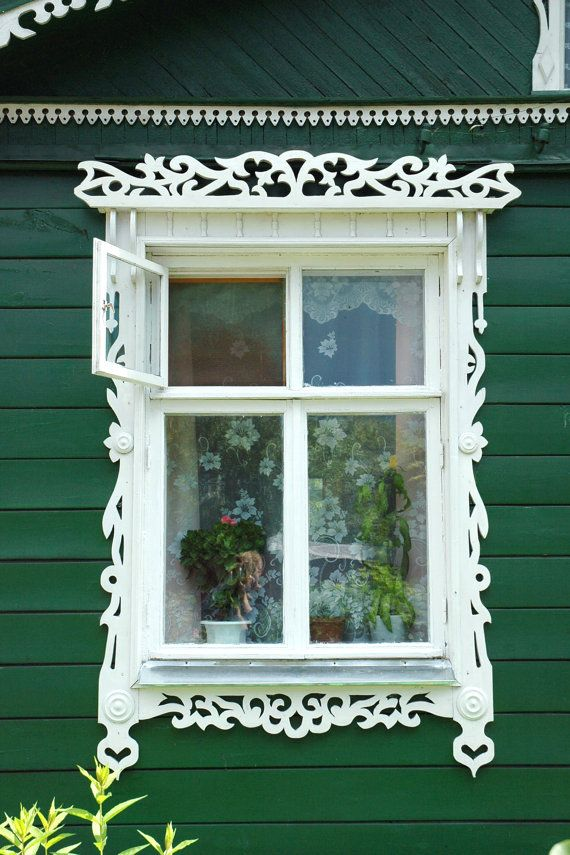 traditional decorative carved wood window frame, russia ...