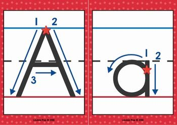 alphabet handwriting cards with directional arrows red and blue back to school handwriting. Black Bedroom Furniture Sets. Home Design Ideas