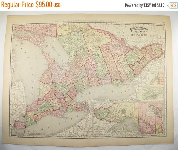 large map ontario canada 1896 vintage map canadian gift for home decor antique wall map genealogy research canada gift for parents canadian gifts