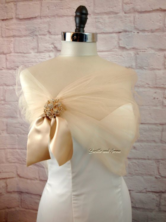 8574183ff71 Champagne Tulle Shawl Bolero Bridesmaids Stole With Rhinestone Brooch  Champagne Shoulder Cover Tulle