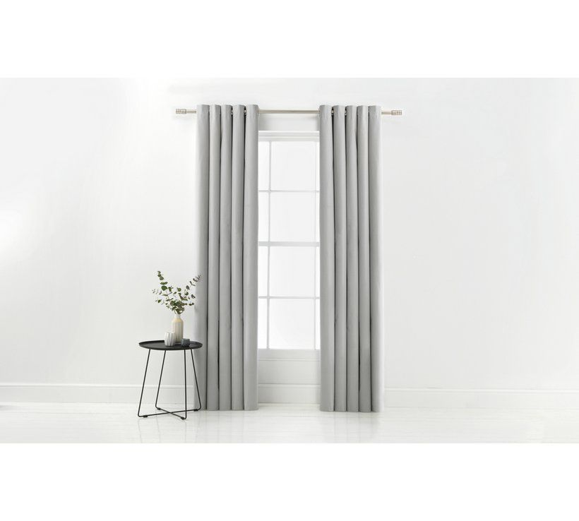 Argos Home Blackout Thermal Curtains 117x183cm Dove Grey Blackout Eyelet Curtains Thermal Curtains Argos Home