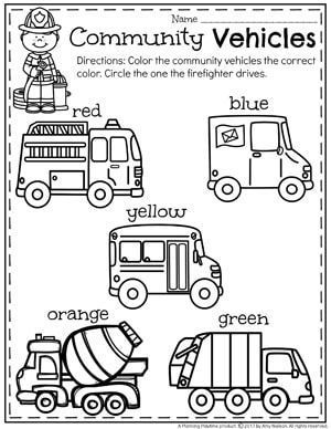 community helpers unit for preschool coloring community vehicles classroom ss community. Black Bedroom Furniture Sets. Home Design Ideas