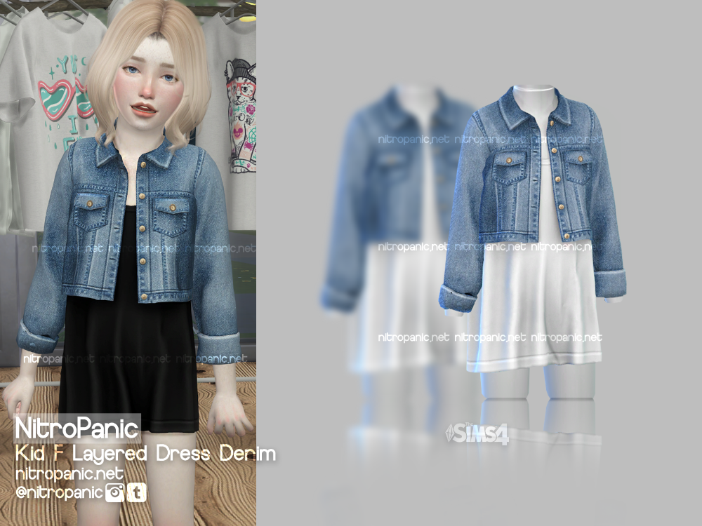 Photo of Kid F Layered Dress Denim for The Sims 4