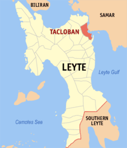 Map Of Eastern Visayas With Tacloban Highlighted Family