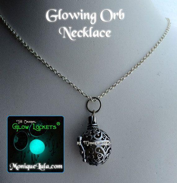 Glowing Orb Necklace Glow Locket ® Steampunk Fairy by MoniqueLula