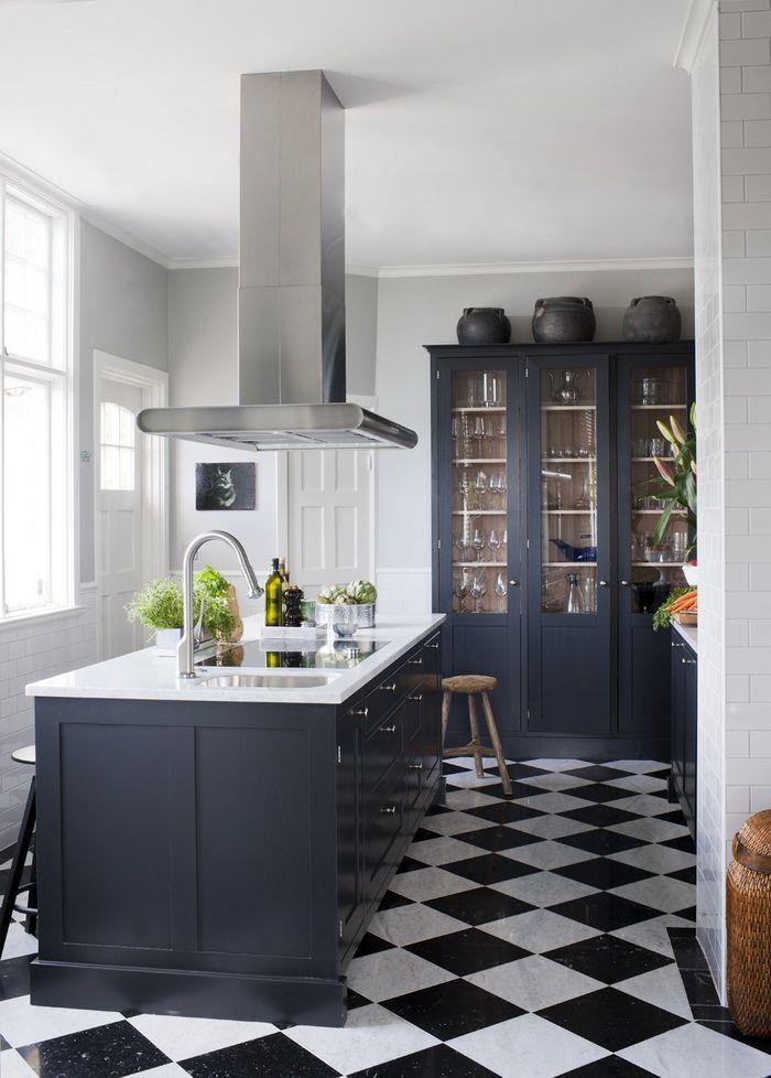 Detali Dark Blue Kitchens White Kitchen Floor Kitchen Remodel