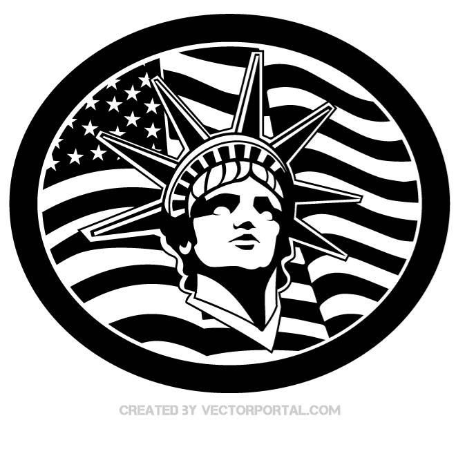 Statue Of Liberty And American Flag Vector Various Vectors Flag