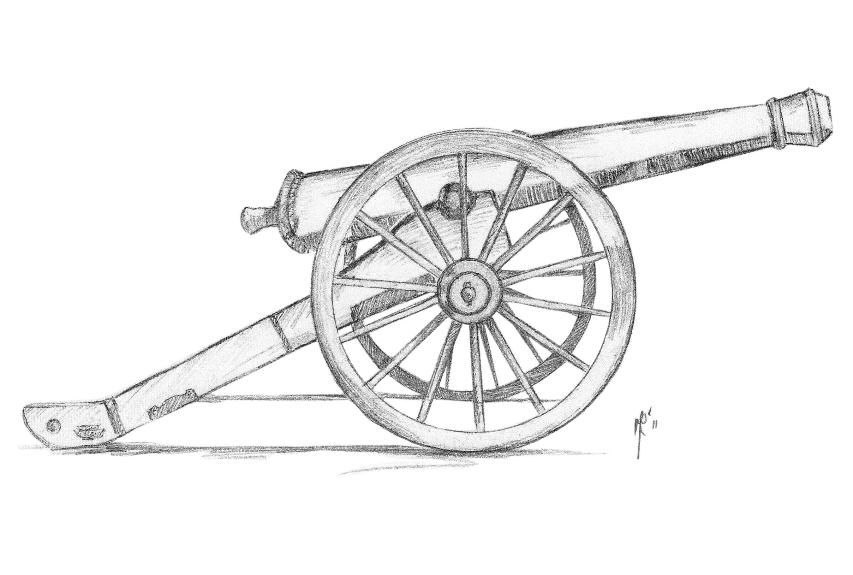 Пушка картинка карандошом