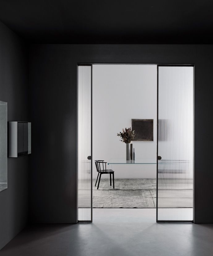 Minimal Fluted Glass Doors To Close Off Office Space Glasitalia