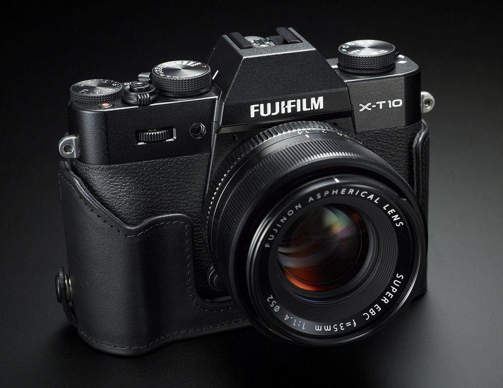 Fuji's X-T10 with half case – Image courtesy of Fujifilm