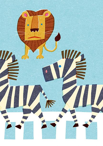 Zebra Crossing Kids Play Lion Illustration Zebra Illustration