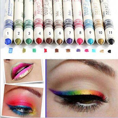 12 Kleur Glitter Lip Liner Oogschaduw Potlood Pen Cosmetische Make Set Liner Combinatie Voor Vrouwen