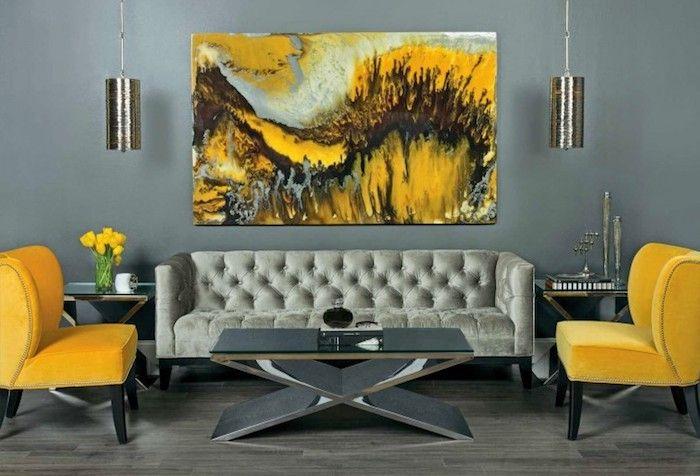 ▷ 1001 + atemberaubende Ideen für Wandfarbe Grau Pinterest - Wohnzimmer Grau Orange