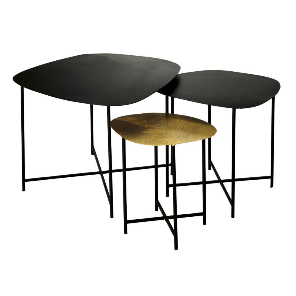 tables gigognes en metal coloris laiton