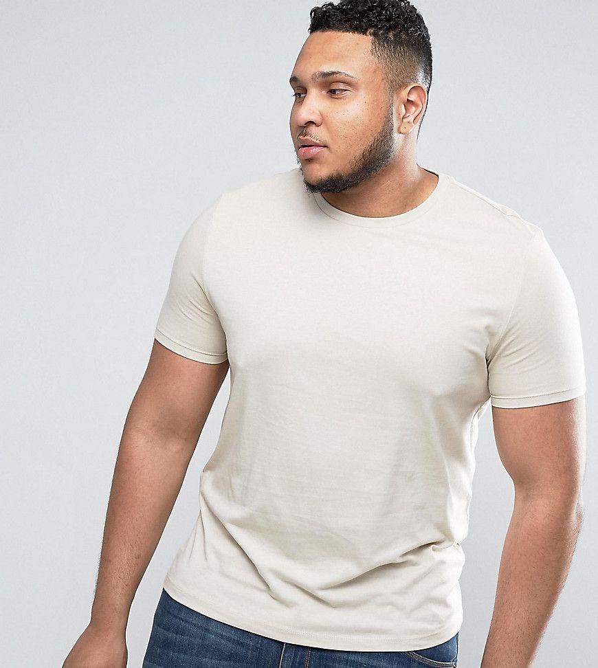 ASOS PLUS T-Shirt With Crew Neck In Beige - Beige