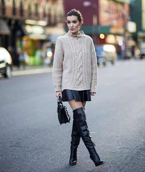 Marciano Cable Knit, Marciano Skirt, Guess? Over The Knee Boots ...