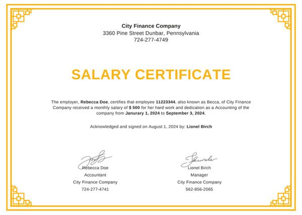 20 Salary Certificate Formats Free Word Pdf Certificate Format Certificate Free Certificate Templates
