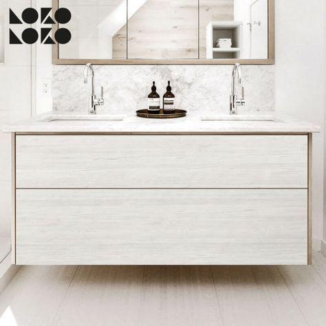 Exceptional Vinilo Adhesivo Para Renovar Muebles De Baño. Superficie De Madera En Tonos  Blancos #lokolokodecora #vinilomuebles #decoracion