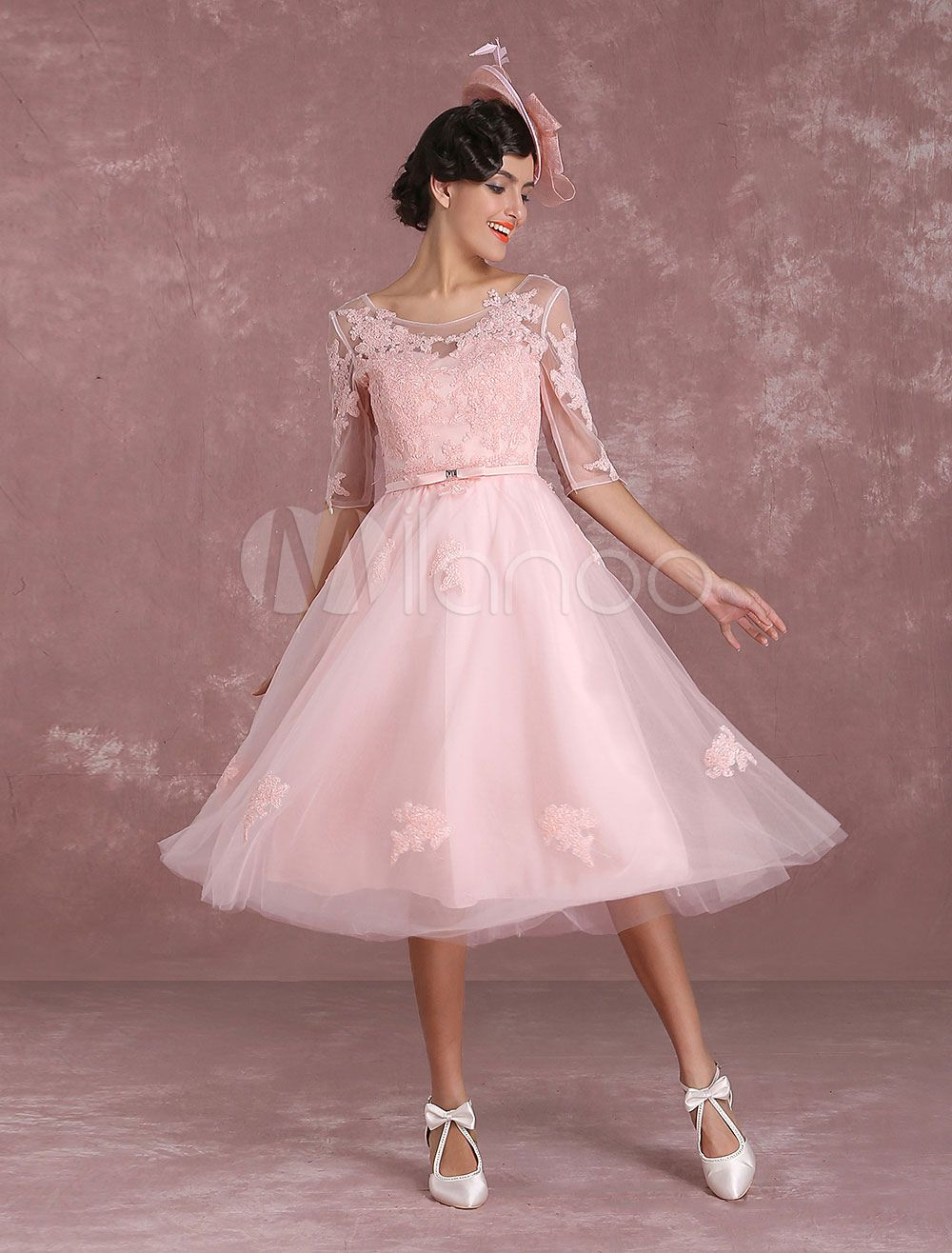 Short Wedding Dresses 2017 Vintage Soft Pink Bridal Gown Lace Applique Illusion Half Sleeve Tea Length Dress With Bow Sash: Soft Pink Vintage Wedding Dresses At Reisefeber.org