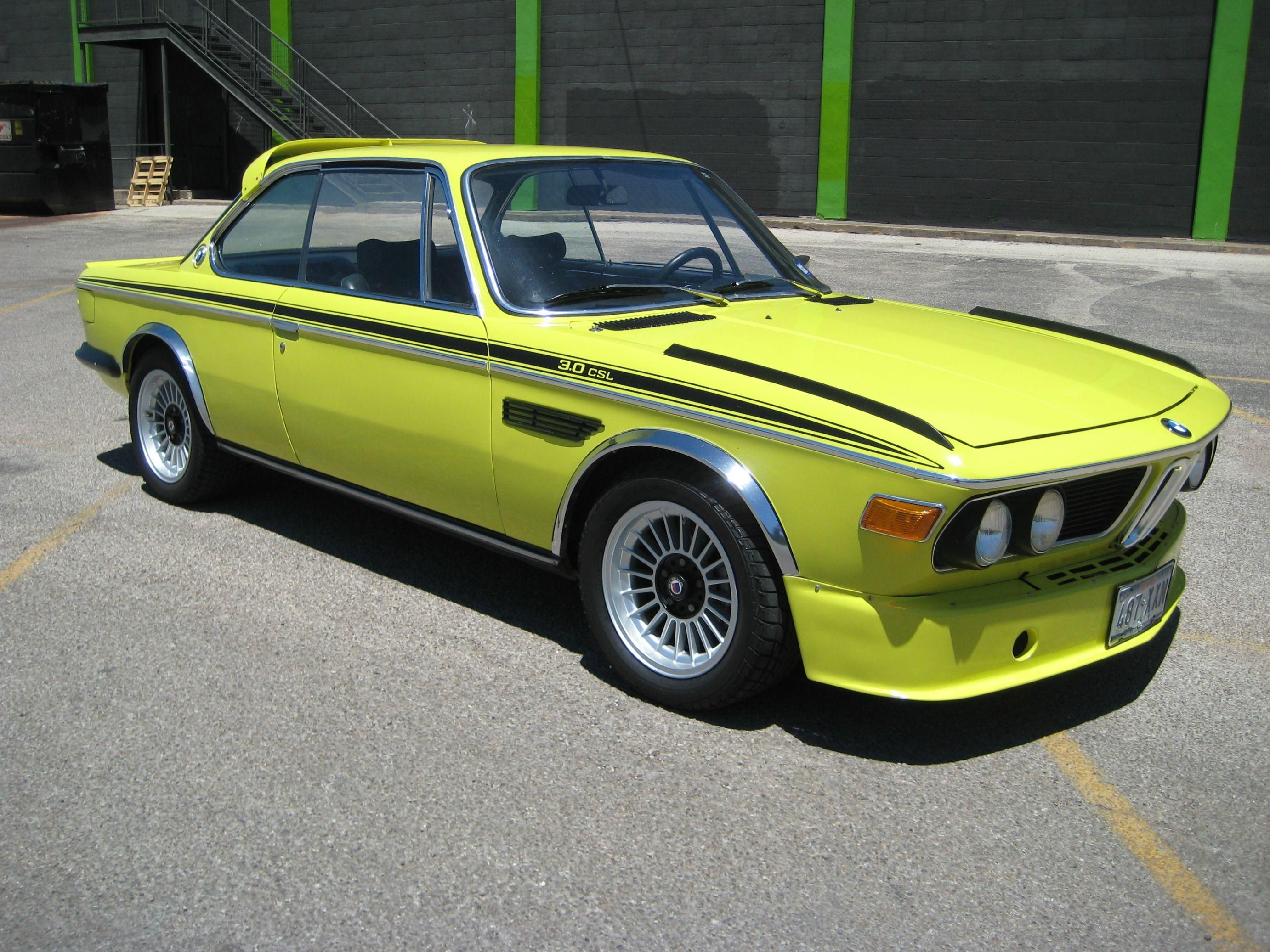A Classic 1972 Bmw 3 0csl Dressed In A Lime Yellow Color Bmw