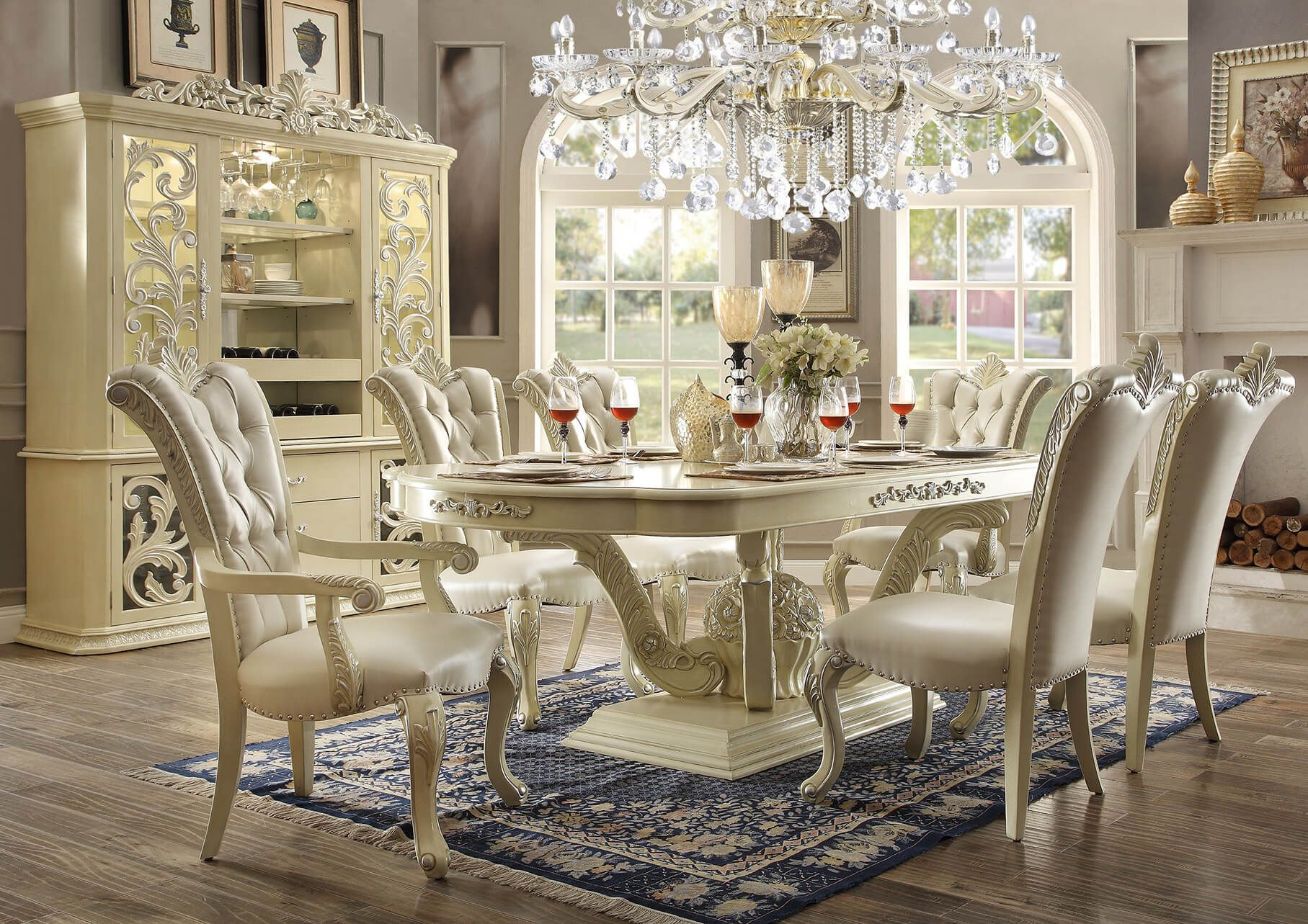 9 piece homey design marbella hd 27 dining set 9 piece for Casual formal dining room