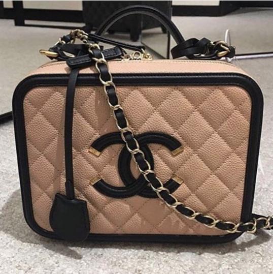 1630e6a5bdc0c Chanel Beige Black CC Filigree Vanity Case Small Bag 2