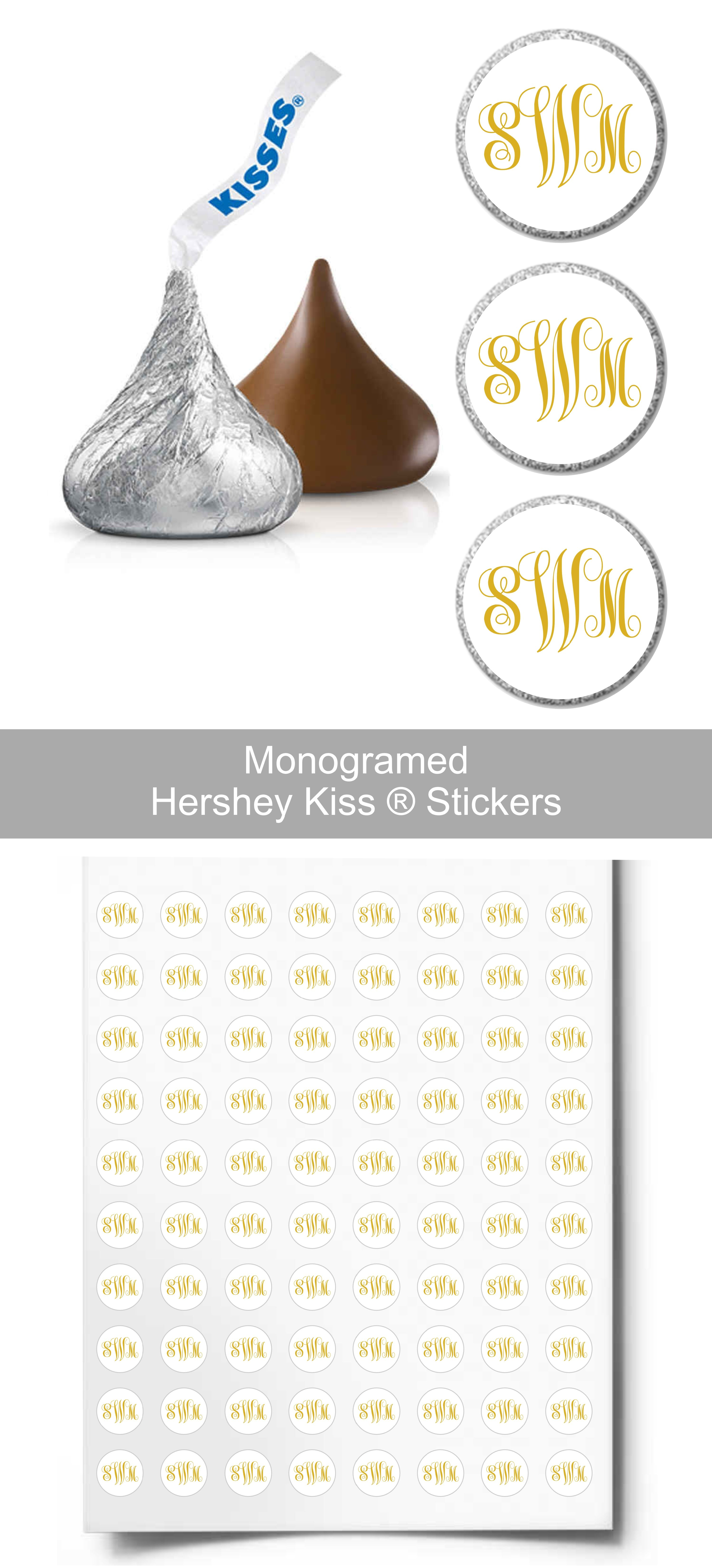 Monogram Hershey Kiss® Candy Sticker | Candy Table Decor | Wedding ...