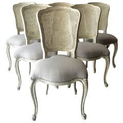 Set Of Six French Lxv Style Chairs With Cane Back French