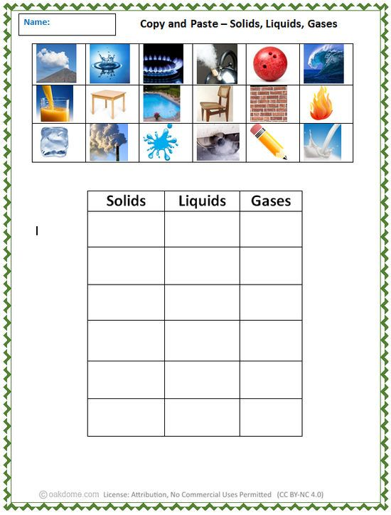 Copy And Paste Solids Liquids Gases Teaching Tools