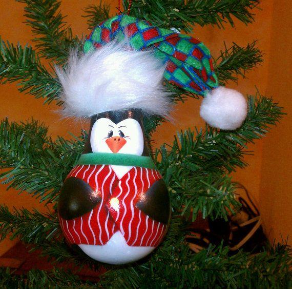 Items similar to Handpainted penguin recycled lightbulb Christmas ornament on Etsy