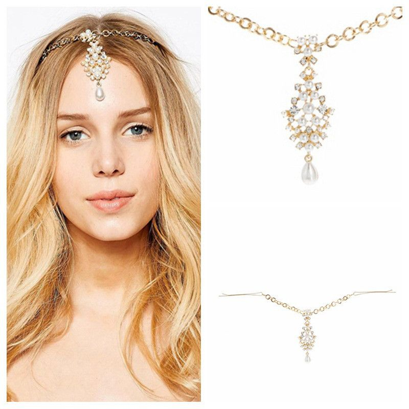 HHYDE Indian Gold Color Hair Accessories Crystal Simulated Pearl