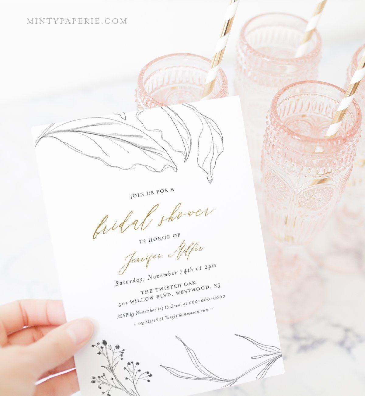 Bridal Shower Invitation Template, Rustic Glam, Printable