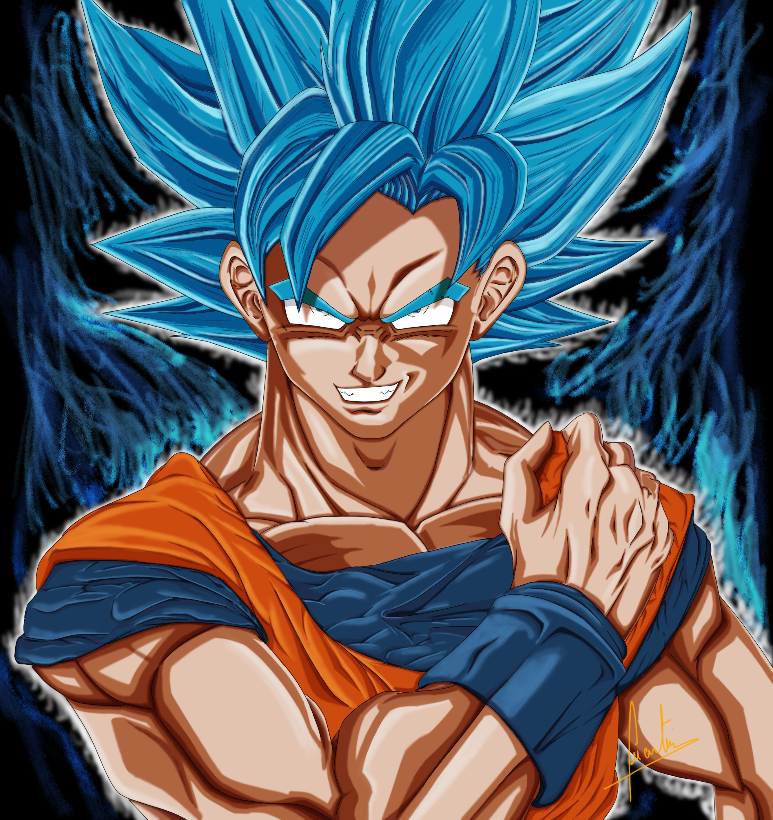 Drawing 27 : second try of photoshop drawing with the character of Sangoku in Blue Super Saiyan ...